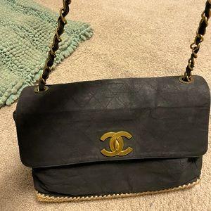 LTD ED Chanel jumbo maxi espadrille bag gold